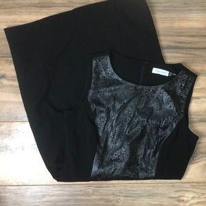 Calvin Klein sz4 leather cutout panel sheath dress
